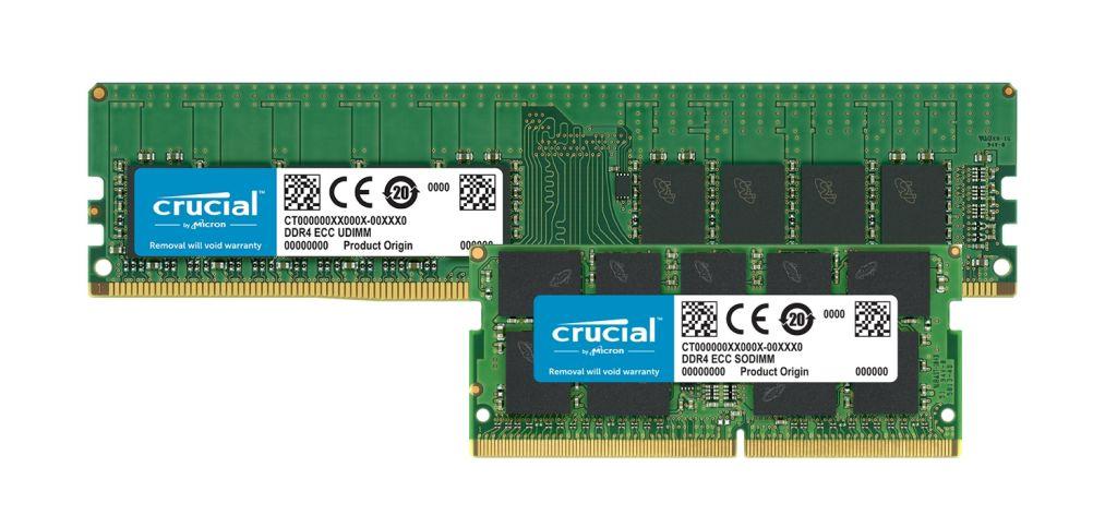 Crucial DDR4 ECCメモリモジュール。