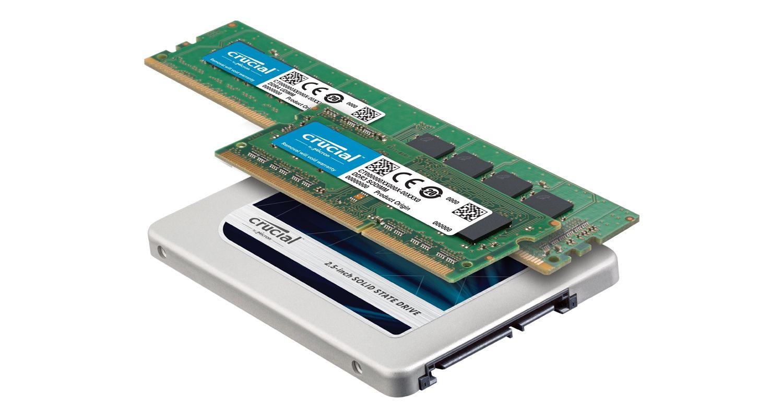 Crucial SSDおよびRAMメモリモジュール