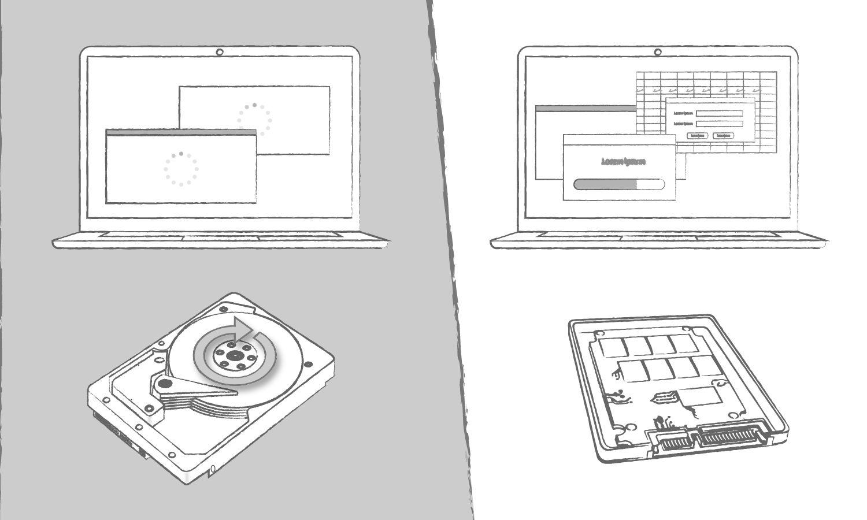 コンピュータプログラムのロード時間に関して、SSDの利点をHDDと比較したイラスト