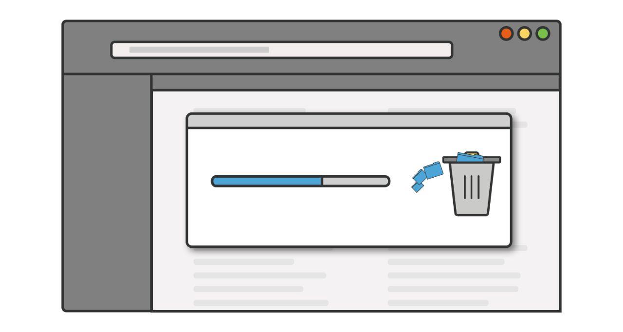 未使用のプログラムやアプリケーションをコンピューターから削除する間に表示されるプログレスバーのイラスト