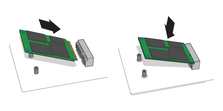 デスクトップPCのマザーボード上のmSATAソケットへのmSATA SSDの差し込み方法を示す図