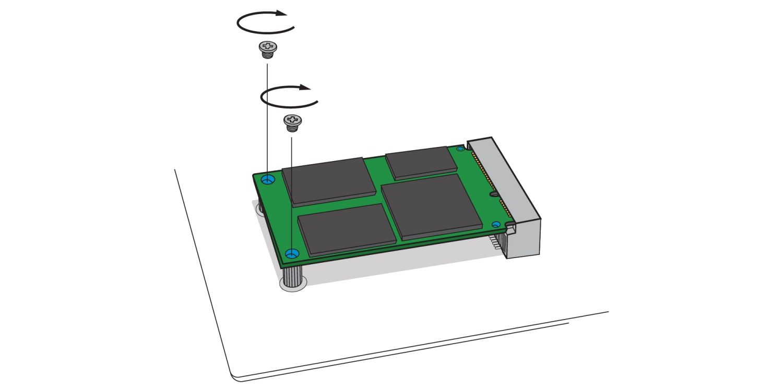 デスクトップPCのマザーボード上のmSATAソケットへのmSATA SSDの固定方法を示す図