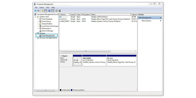 SSDのフォーマット手順:[ディスクの管理]の選択