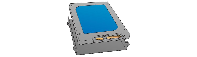 ストレージベイを見つけて、SSDを取り付けます。