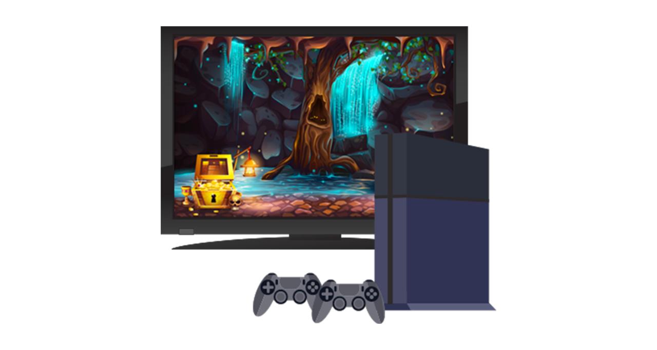 ゲームコンソールとテレビ画面
