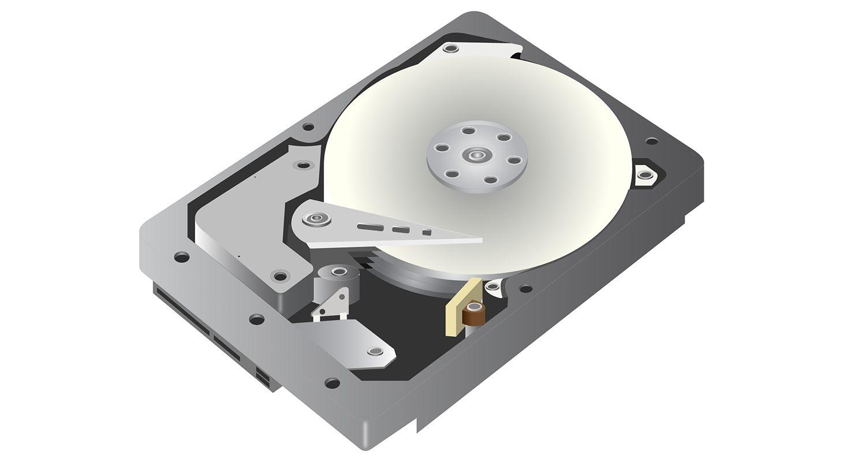 白を背景にしたハードディスクドライブ(HDD)のベクターグラフィックス画像