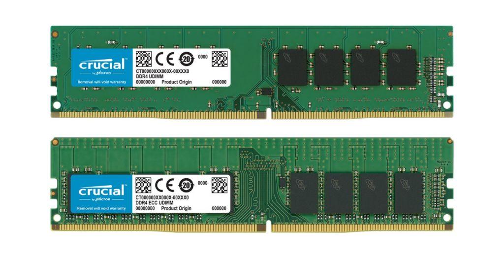 非ECC Crucial RAMメモリモジュールとECC Crucial RAMメモリモジュール