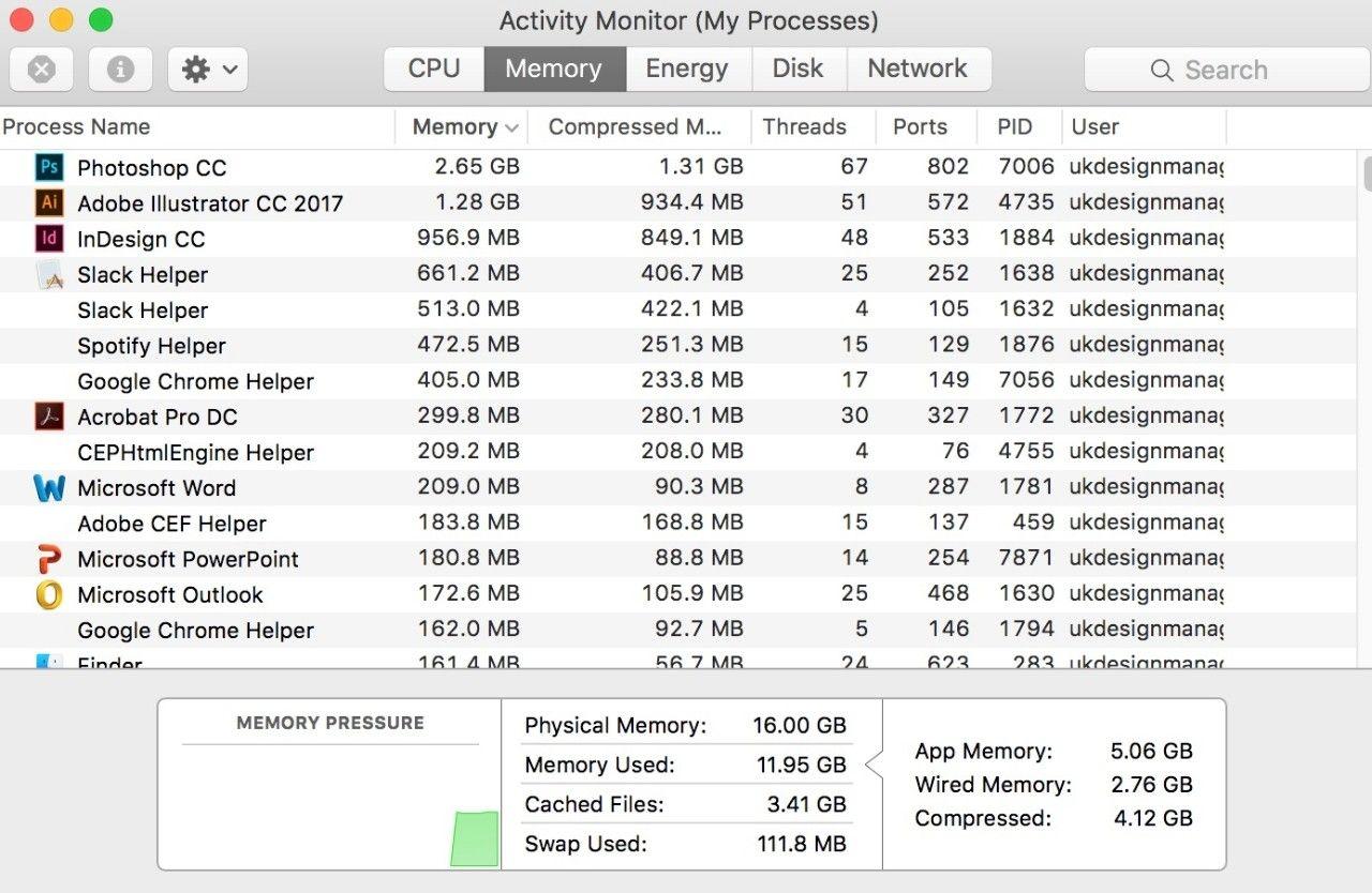Macの[アクティビティモニタ(自分のプロセス)]ウィンドウのスクリーンショット