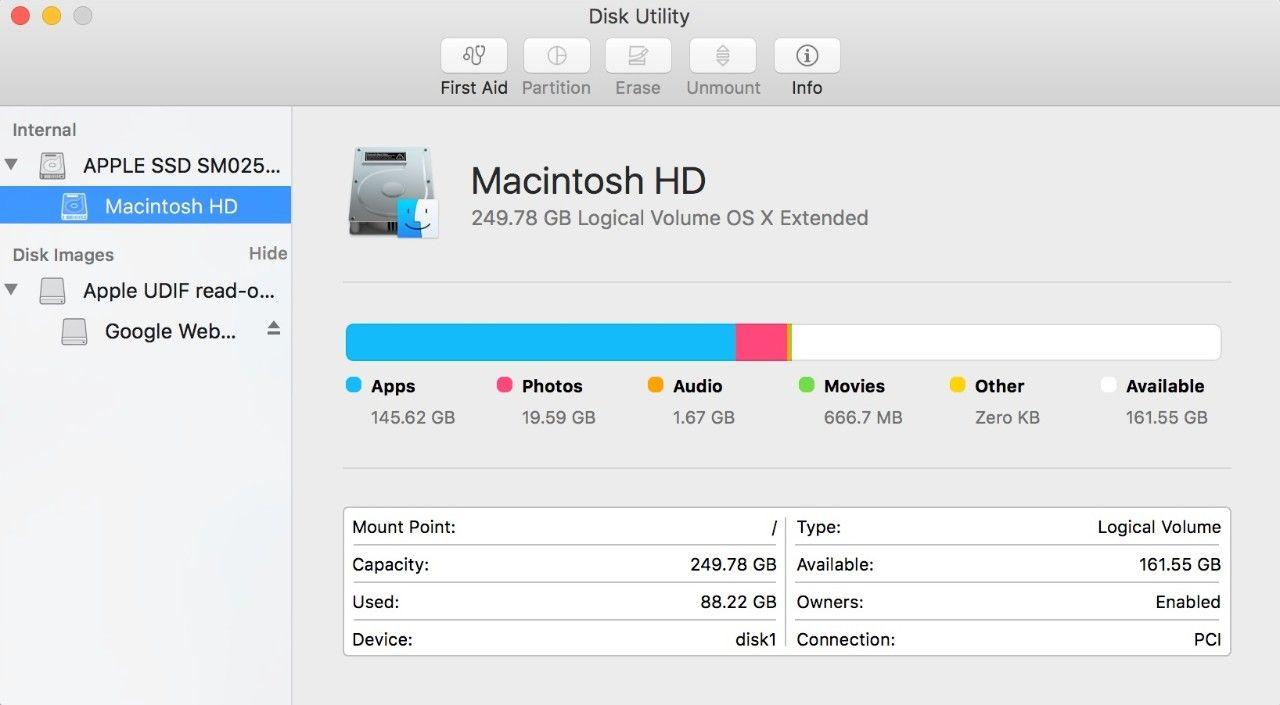 Macの[ディスクユーティリティ]ポップアップウィンドウのスクリーンショット