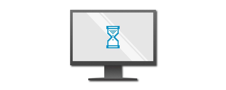 青い砂時計を表示したパソコン画面の画像