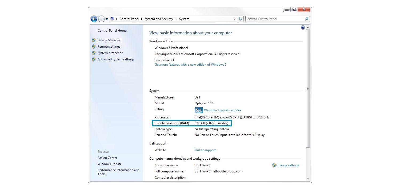 Windows 7の[システム]ポップアップウィンドウ