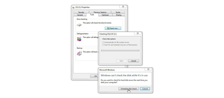 Windows 7の[ディスクチェック]ウィンドウ