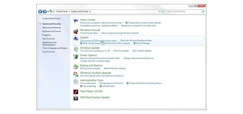 Windows 7の[システムとセキュリティ]ウィンドウ