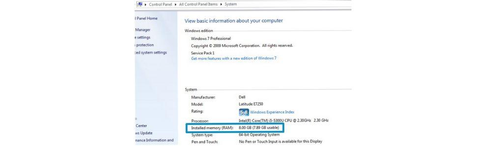 Windowsパソコンに搭載されたメモリ量の確認方法を示すスクリーンショット