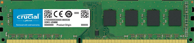 白を背景に、単体で取り出されたパソコン用のCrucialメモリ(RAM)